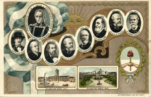 argentina, Presidents 1810-1910 Saavedra to Quintana (1910s) Embossed Postcard