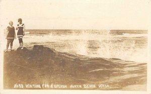 RPPC Waiting For A Splash NORTH BEACH, WA Bathers 1923 Vintage Postcard