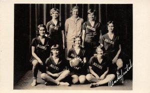 F52/ Nahma Township Michigan RPPC Postcard 1931 Girls Basketball Team