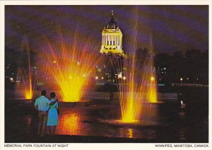Canada Memorial Park Fountain At Night Winnipeg Manitoba