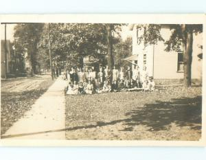 Pre-1918 rppc BIG GROUP BY HOUSE AND STREET Bowling Green Ohio OH v5194@
