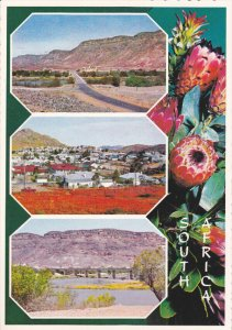 South Africa , 3-view postcard w/ attached coin in stamp box, 50-70s