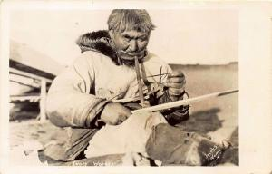 Nome AK Native Working w/ Ivory Signed Jacobs Real Photo Postcard