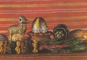 Poland Gold Metallic Toy Sheep Brass Statue Egg Polish Happy Easter Postcard