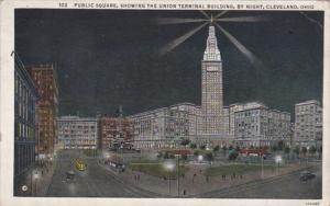 Ohio Cleveland Public Square Showing Union Terminal Building By Night 1934 Cu...