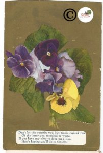 Vintage Postcard Purple and Yellow Pansies on Gold Gild, Pansy flowers