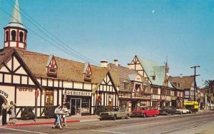View along Main Street and Copenhagen Drive, Solvang, California, 1940-60s