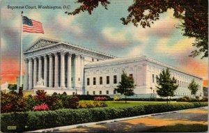 Vtg 1940s Supreme Court Building Washington DC Unused Linen Postcard