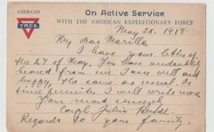 WW I WORLD WAR I  1918 YMCA Military AMERICAN EXPEDITIONARY FORCES