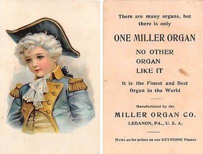 Approx Size Inches = 2.73 x 4 Miller Organ Company Trade Card