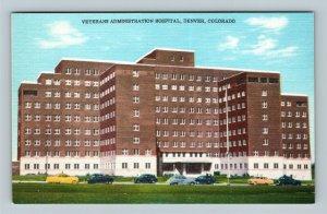 Denver CO, Veterans Administration Hospital, Linen Colorado Postcard