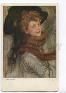 257608 BELLE Lady in BLACK HAT Fur by AXENTOWICZ Vintage PC