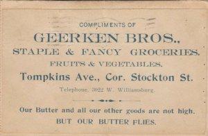 BROOKLYN , 1906 ; Geerken Bros. Grocery Store ad Postcard, NoveltyButterfly