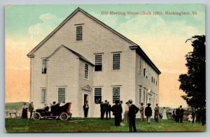 Rockingham Vermont~Old Meeting House b1787~Vintage Car~Folks on Lawn~c1910