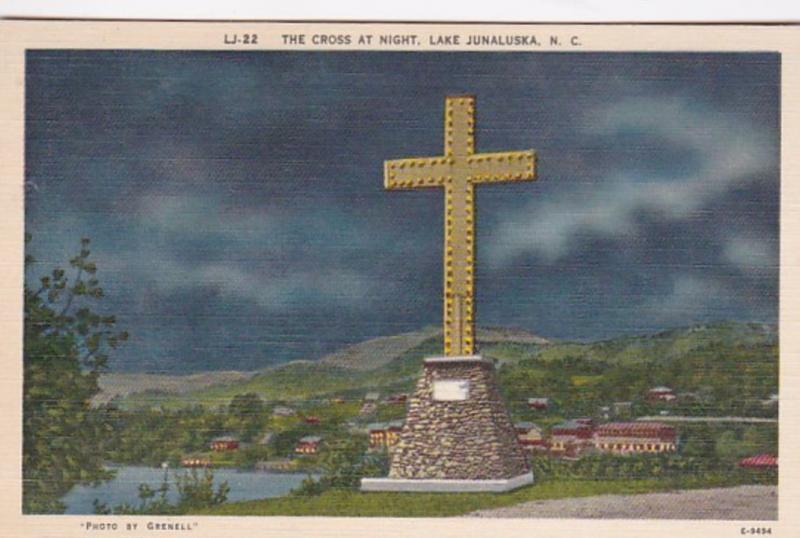 North Carolina Lake Junalaska The Cross At Night