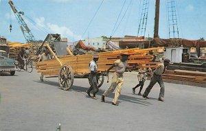 Transporting Lumber By Hand Cart Bridgtown Barbados West Indies Unused