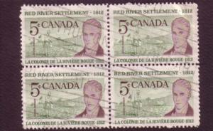 Canada, Used Block of Four, Red River Settlement, 5 Cent, Scott #397