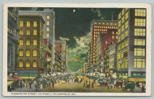 Indianapolis~Washington Street Night Lights~Hook's Drug~United Cigar Store~1920
