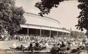 Greetings from Tanglewood, Lenox, Mass, Real Photo Postcard, Used