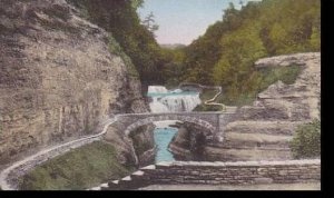 New York  Castile Letchworth State Park Lower Falls  Bridge over Genesee Rive...