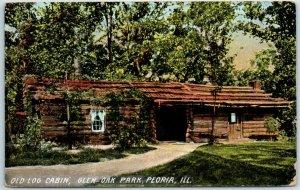 Peoria, Illinois Postcard Old Log Cabin, Glen Oak Park 1909 Cancel