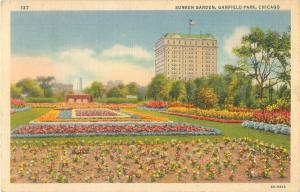 Chicago, Ilinois Garfield Park Sunken Garden 1937 C T Art Linen Postcard #137