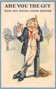 Smoking Old Vintage Antique Post Card Are you the Guy Unused