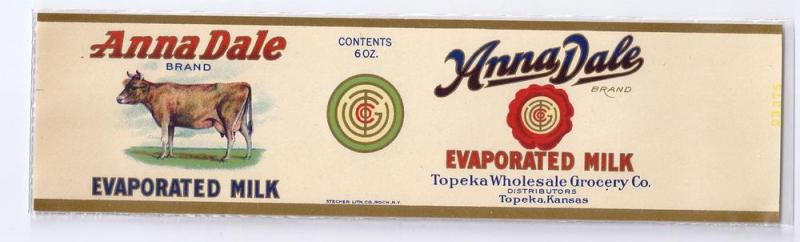 Anna Dale Evaporated Milk Topeka Vintage Can Label Cow