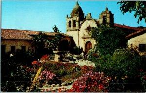 Carmel Mission & Exterior Gardens California Mission Postcard