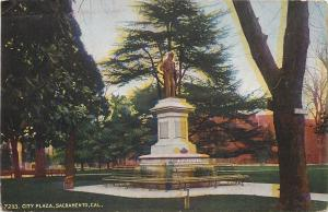 Sacramento California~Cesar E. Chavez Statue City Plaza~1910 Postcard