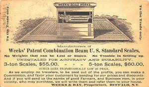 Buffalo NY Week's U. S. Standard Scale Works 1880's Advertising Postal Card
