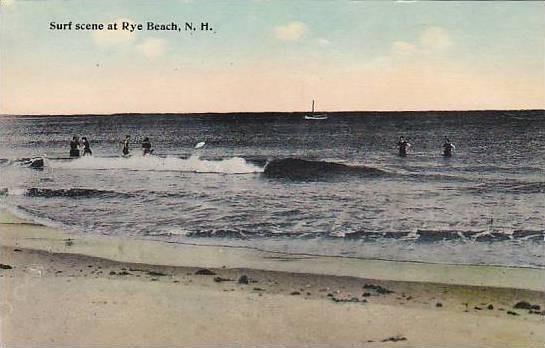 Surf Scene At Rye Beach New Hampshire 00 10s Hippostcard