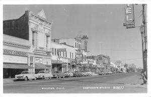 Willows California~JC Penney Co~Greyhound Bus Depot Taxi~7Up~1950s Cars~RPPC