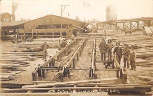 Falls City Oregon~Lumber Yard Sorting Table~Saw Mill Workers~Mill #1~1911 RPPC