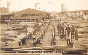 Falls City Oregon~Lumber Yard Sorting Table~Saw Mill Workers~Mill #1~1911 RPPC
