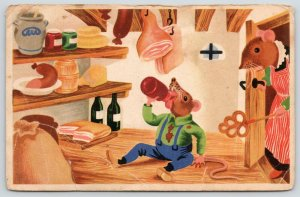 Artist~Dressed Mice~Mother Catches Son Drinking~What a Candy~Sausage~Ham c1915