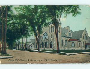 Bent Corner Divided Back CHURCH SCENE Glens Falls New York NY hs7873