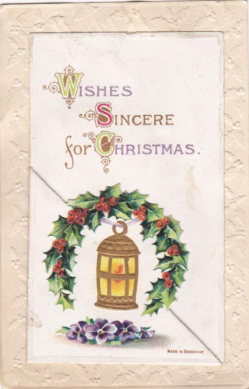 Booklet postcard , Wishes Sincere for Christmas , 1912