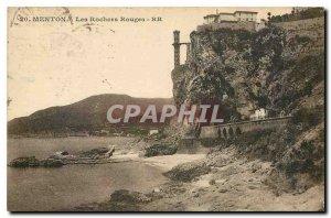 Old Postcard Menton red rocks