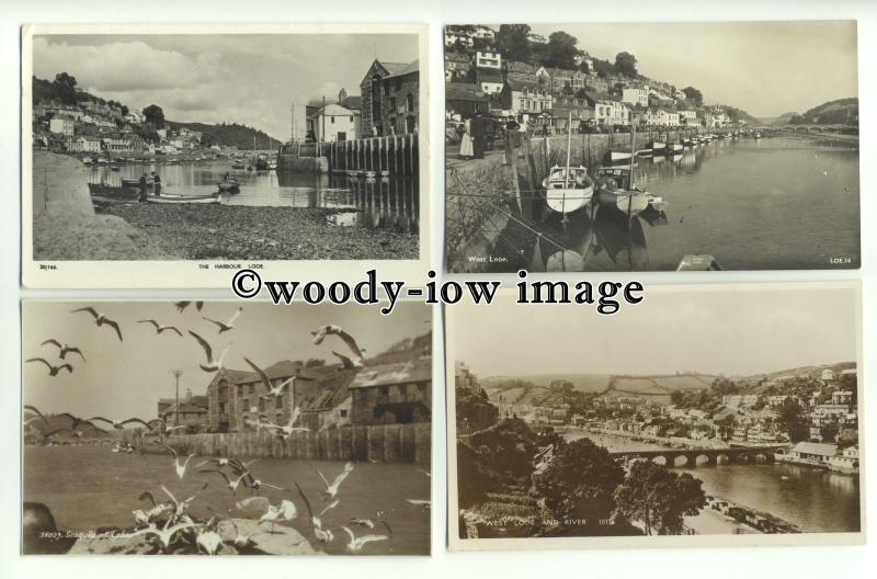 tp9890 - Cornwall - Harbour, Quayside, Seagulls, West Looe, River- postcards x 4