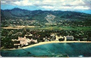 Waikiki Aerial Vintage Postcard Standard View Card Three Famous Hotels Hawaii