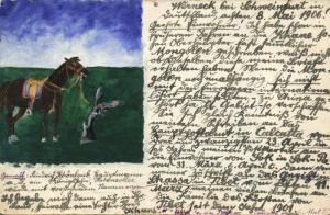 china, MONGOLIA, Horse on Mongolian Prairie (1906) Hand Painted Postcard  READ!!