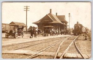 Chesaning~Michigan Central MC Railroad Depot~Train~Dog on Auto~Crowd~1913 RPPC