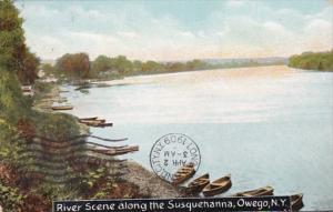 New York Owego River Scene Along The Susquehanna River 1909