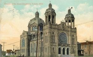 Toledo OH~Twin Belltower of the Church of the Good Shepherd~1910 Postcard
