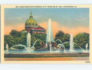 Unused Linen FOUNTAIN AT PETER AND PAUL CATHEDRAL Philadelphia PA A8251