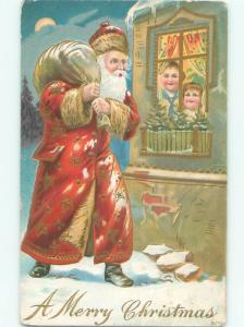 Pre-Linen Christmas LONG ROBE SANTA CLAUS SEES KIDS IN THE WINDOW AB4731