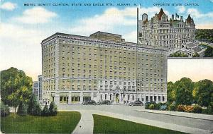Hotel Dewitt Clinton in Albany NY Ney York Linen Postcard