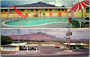 Socorro, New Mexico Postcard VAGABOND MOTEL & RESTAURANT Pool View c1960s Chrome