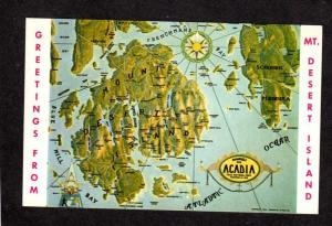 ME Greetings From Mt Desert Island Acadia National Park Map Maine Postcard